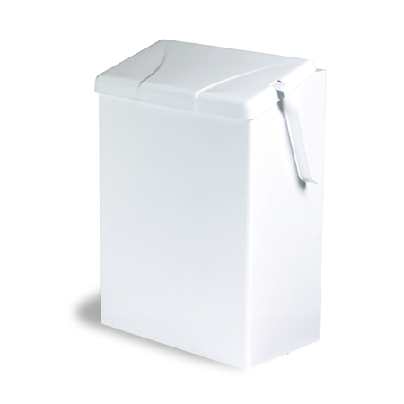 WHITE METAL SANITARY NAPKIN RECEPTACLE