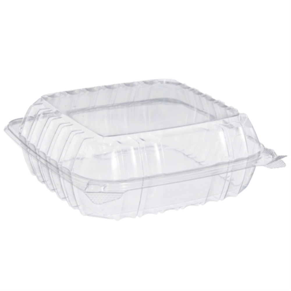 "DART 9"" CLEAR PLASTIC HINGED CONTAINER (250) 8.3X8.3X3"