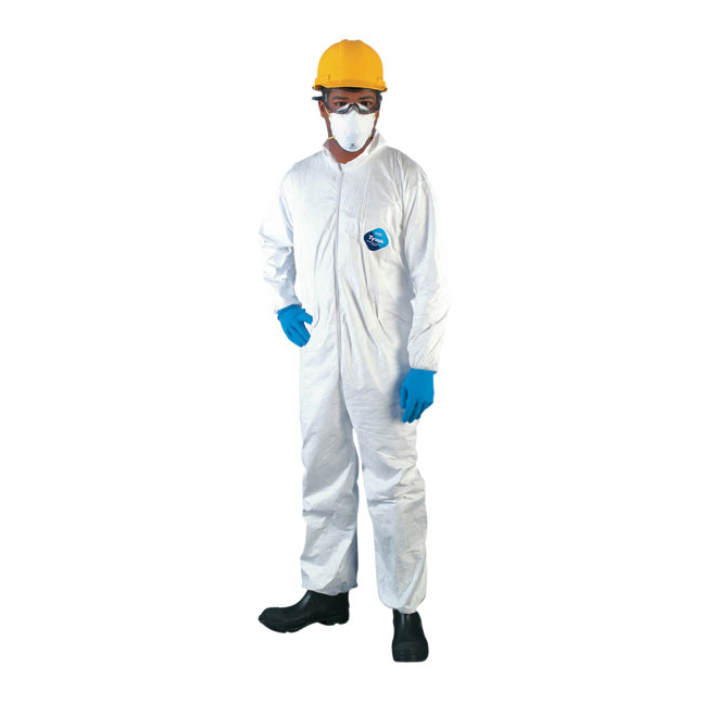 DUPONT TYVEK COVERALL LARGE ZIP UP W/ELASTIC WRIST &
