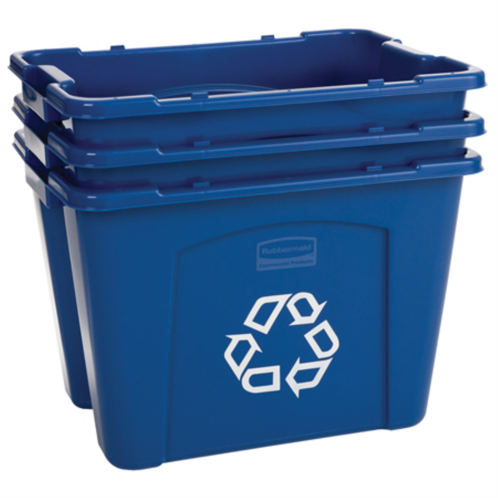 RUBBERMAID 14 GALLON RECYCLING BOX BLUE