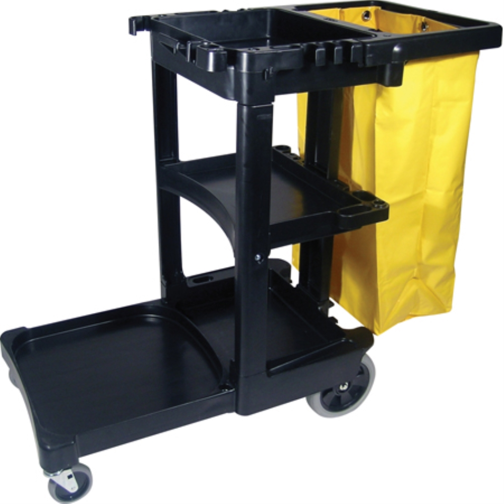 RCP MULTI SHELF CLEANING CART W/ZIPPER YELLOW VINYL BAG BLK